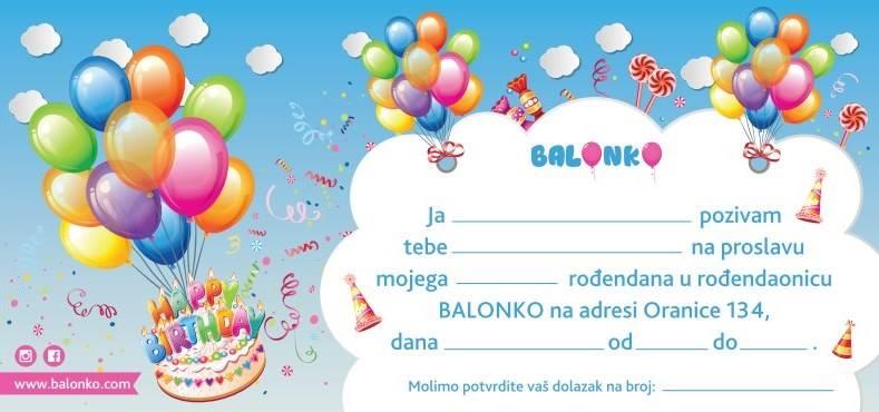 pozivnica na rođendan pozivnica za rođendan   Balonko pozivnica na rođendan
